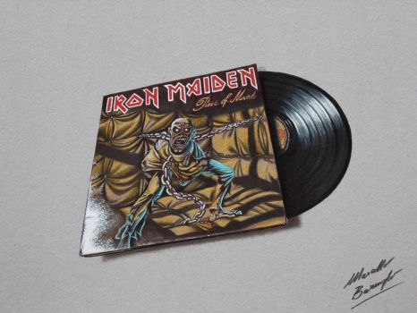 Piece of Mind Iron Maiden DRAWING vinyl and cover by marcellobarenghi