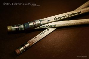 Harry Potter:::Spell Pencils by FagXarT