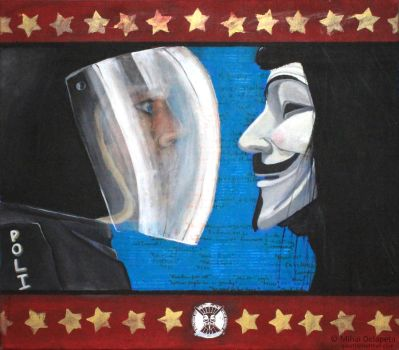 Anon vs Riot Cop by thefunkclothing