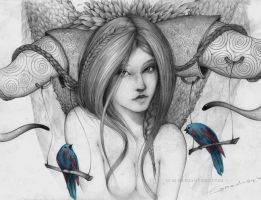 Girl with birds by AC44
