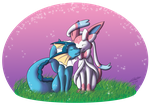 Vaporeon-F and Sylveon-M by zeaeevee