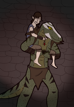 Bokrug and Faelyn by TheReptilianGeneral