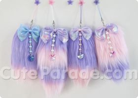 Lavender x Pink Faux Fur Tail Charm Commissions by CatNapCaps