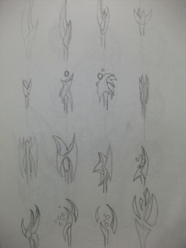 Concept: sci fi mage staff heads by KenBartfan