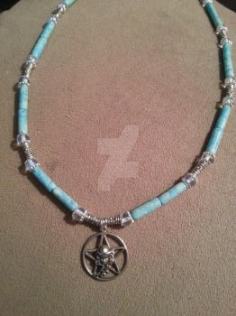 Turquoise Silver Beaded Goddess Pentacle Necklace by TheCraftyMaiden