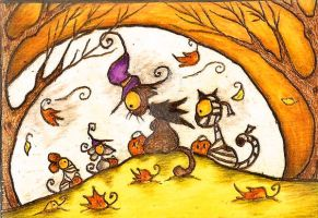 Cats and mice trick or treating under the moonligh by Darkcloudsabout
