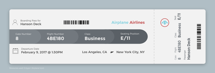 Daily UI #024 - Boarding Pass by Terrance8d