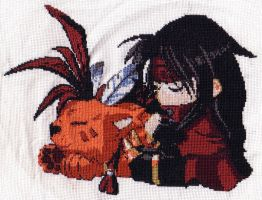 Vincent and Red XIII X-stitch by theygotme