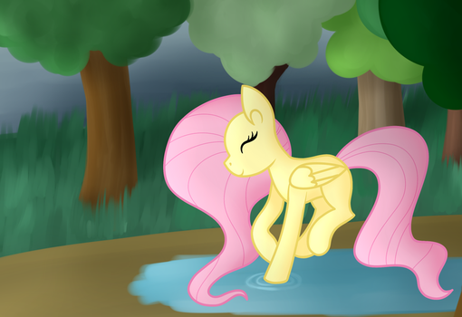 Fluttershy Playing In A Puddle by azure-quill-arts