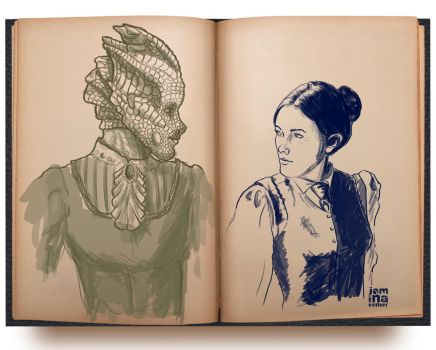 Sketch: DW Madame Vastra + Jenny by jeminabox