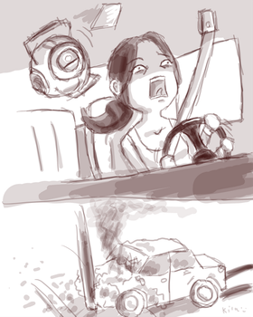 Chell in Need For Speed by kila-ibyao