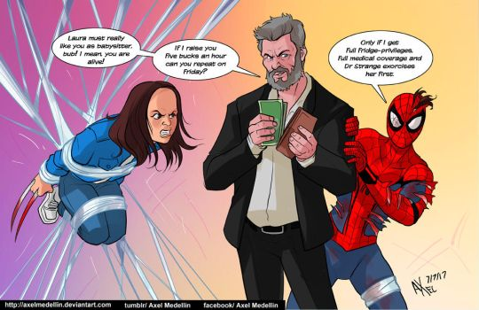 TLIID 349 Spidey comes home with Laura and Logan by AxelMedellin