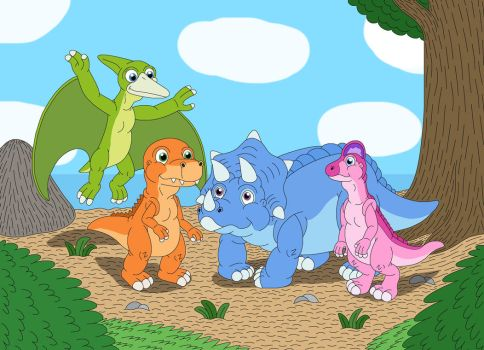 Buddy and his dinosaur friends by MCsaurus