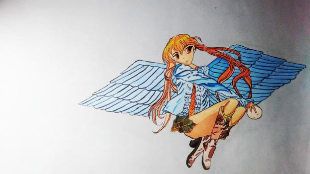 Anime Fairy On Wall by MahuaSarkar