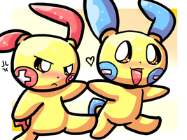 Art Trade - Plusle and Minun