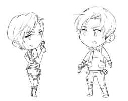 Ada and Leon chibis by FirelordPie