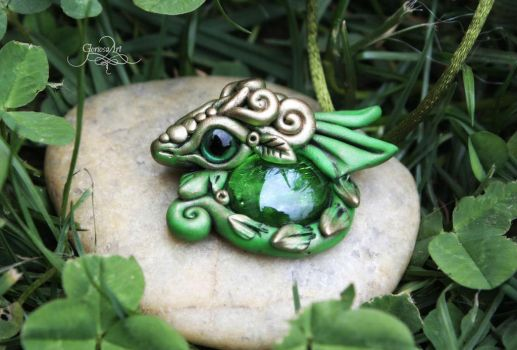 Forest dragon Pendant - green dragon jewelry by Gloriosa-Art