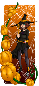 Witch among the pumpkins by jabroberg