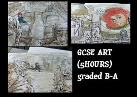 GCSE ART 5 hour exam watercolours 3D by Mollylottiee