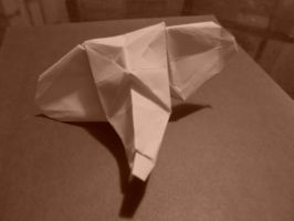 Origami elephant head created and folded by me. by OrigamiFolder13