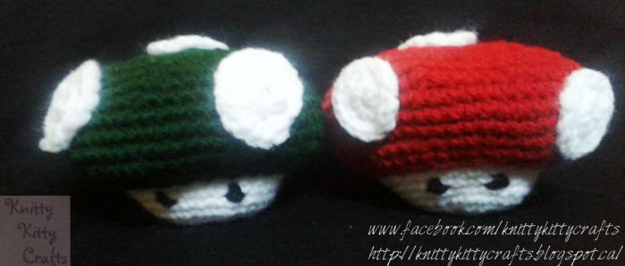 Mario Mushrooms3 by knittykittycrafts