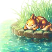 Buizel in the pond by Mootdam