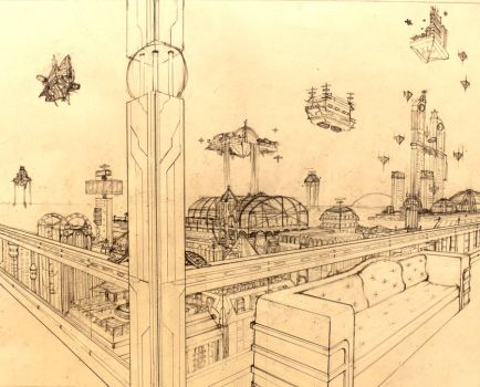 2-point Perspective City by Xiao-Saio