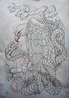Tattoo design - Eagle and snake  lineart by Xenija88