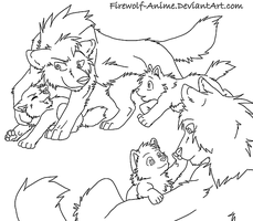 Small Wolf Family Line Art by Firewolf-Anime