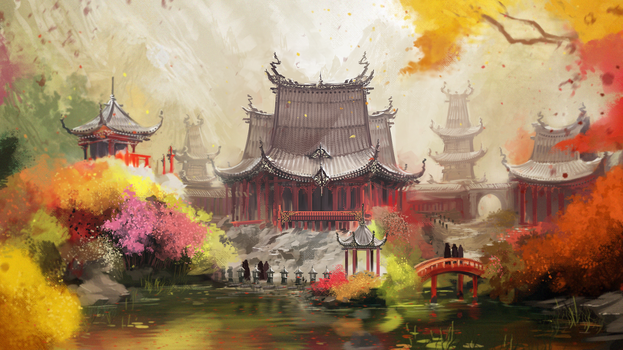 Shadow Tactics - Yabu's Estate [Early concept] by lucas-reiner