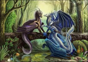 Meeting at the forest pond by Red-IzaK