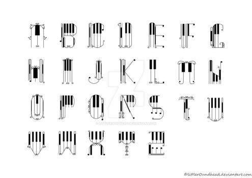 piano style letterform A-Z by littler0undhead