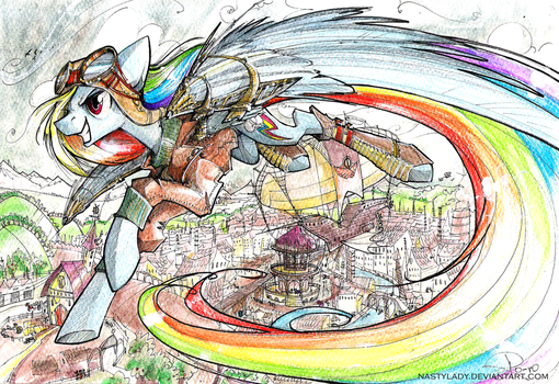 Steampunk Ponyville and Rainbow Dash Flying By by NastyLady