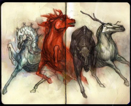 four horses by tobiee