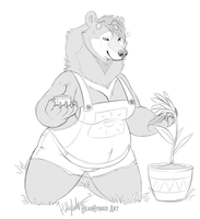Gardening moon bear by Bear-hybrid