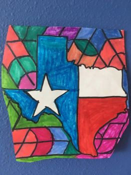 Texas 4th Of July Art Colorful Design Drawing  by NWeezyBlueStars23