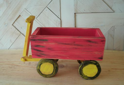 Small Wood Red Wagon by sweetpie2