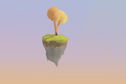 Low poly 3d to krita 2d floating island by Thierry-ThefoxGamer