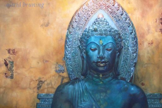 Buddha - Oil Painting by AstridBruning