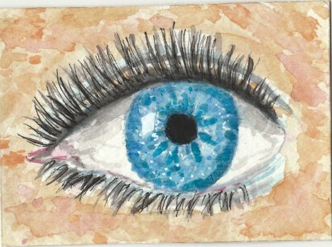 Blue eye  watercolor painting aceo by tulipteardrops